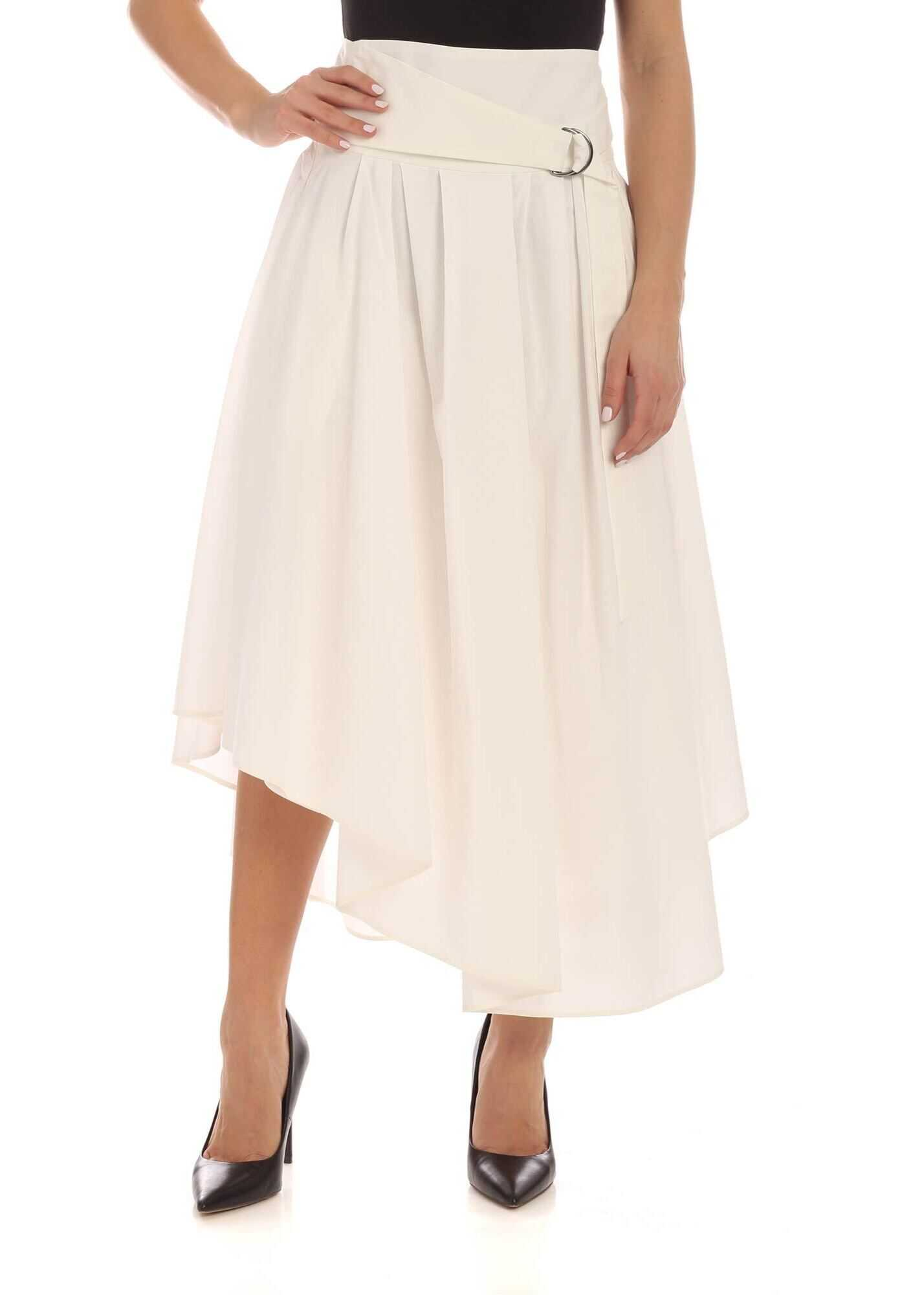 Brunello Cucinelli Pleated White Skirt With Belt White