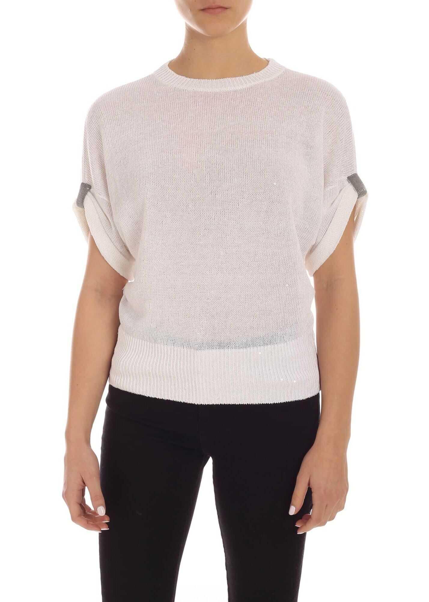 Brunello Cucinelli Transparent Micro Sequins Pullover In White White