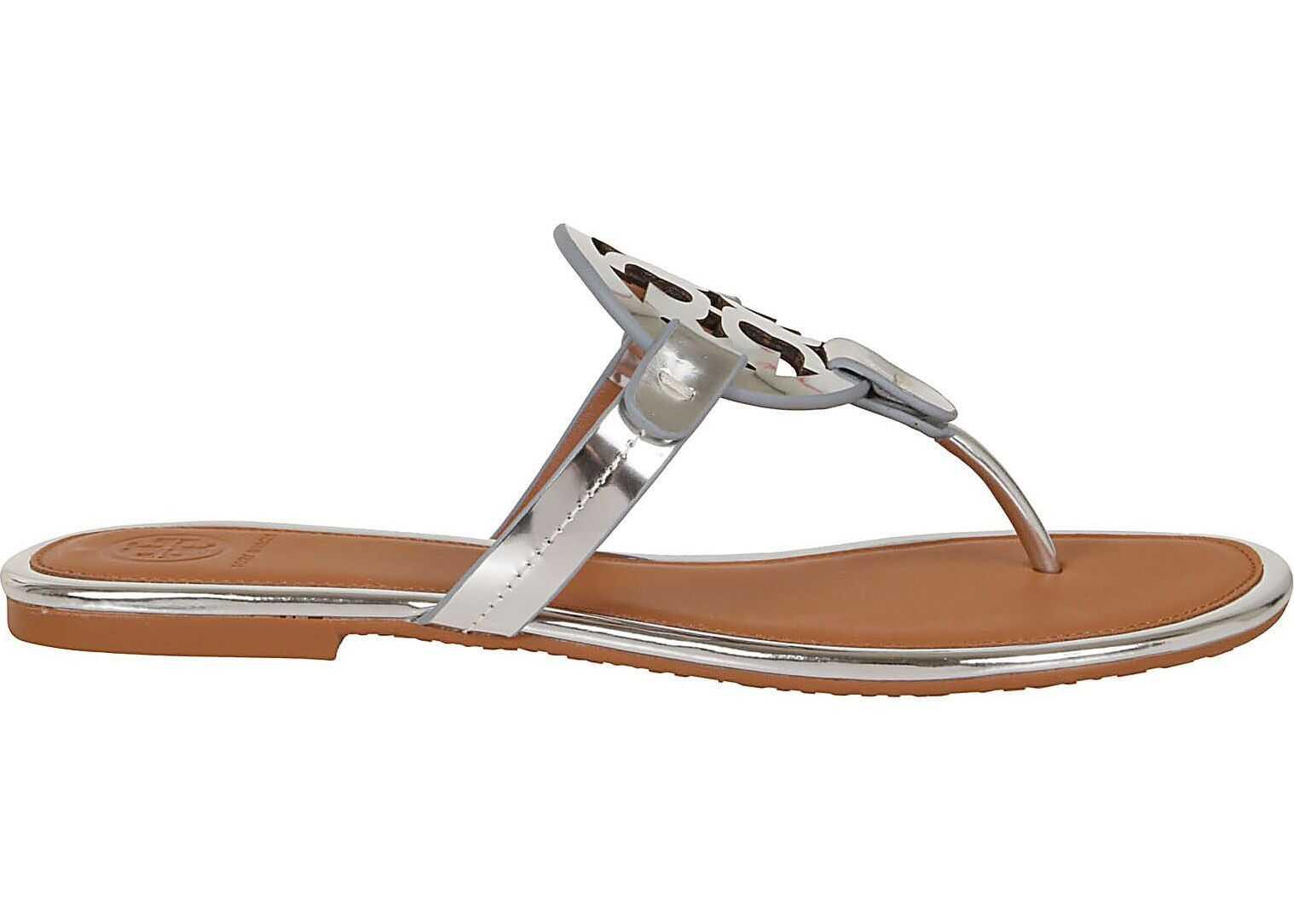 Tory Burch Leather Flip Flops SILVER