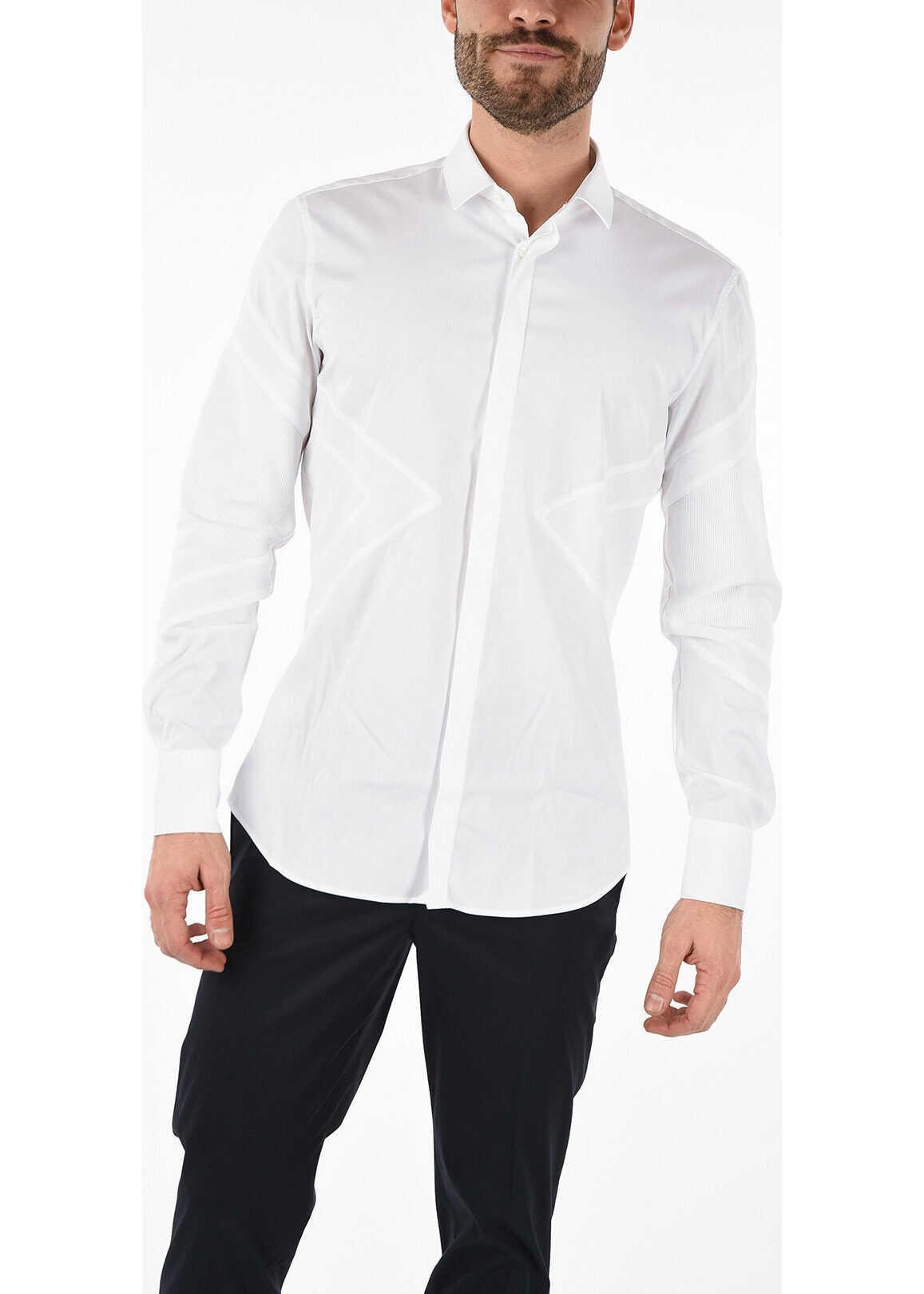 Neil Barrett Spread Collar ICONIC MODERNIST Shirt WHITE