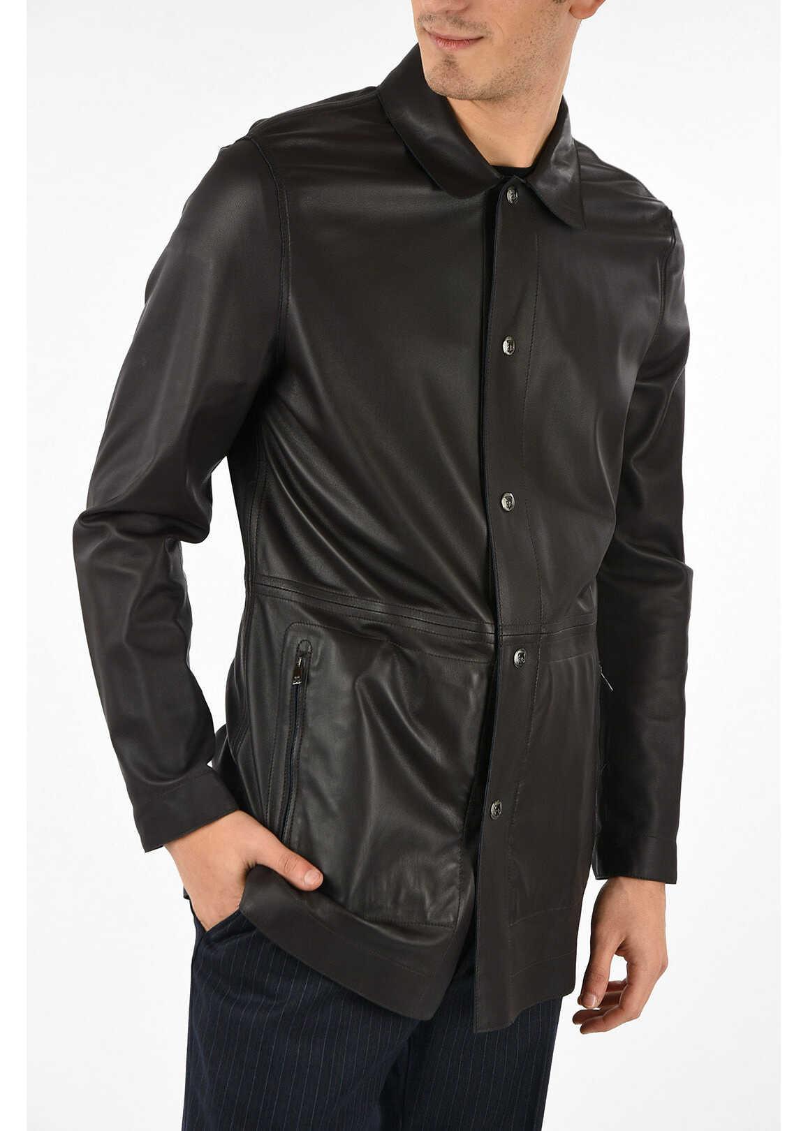CORNELIANI ID Leather Reversible Coat BLUE