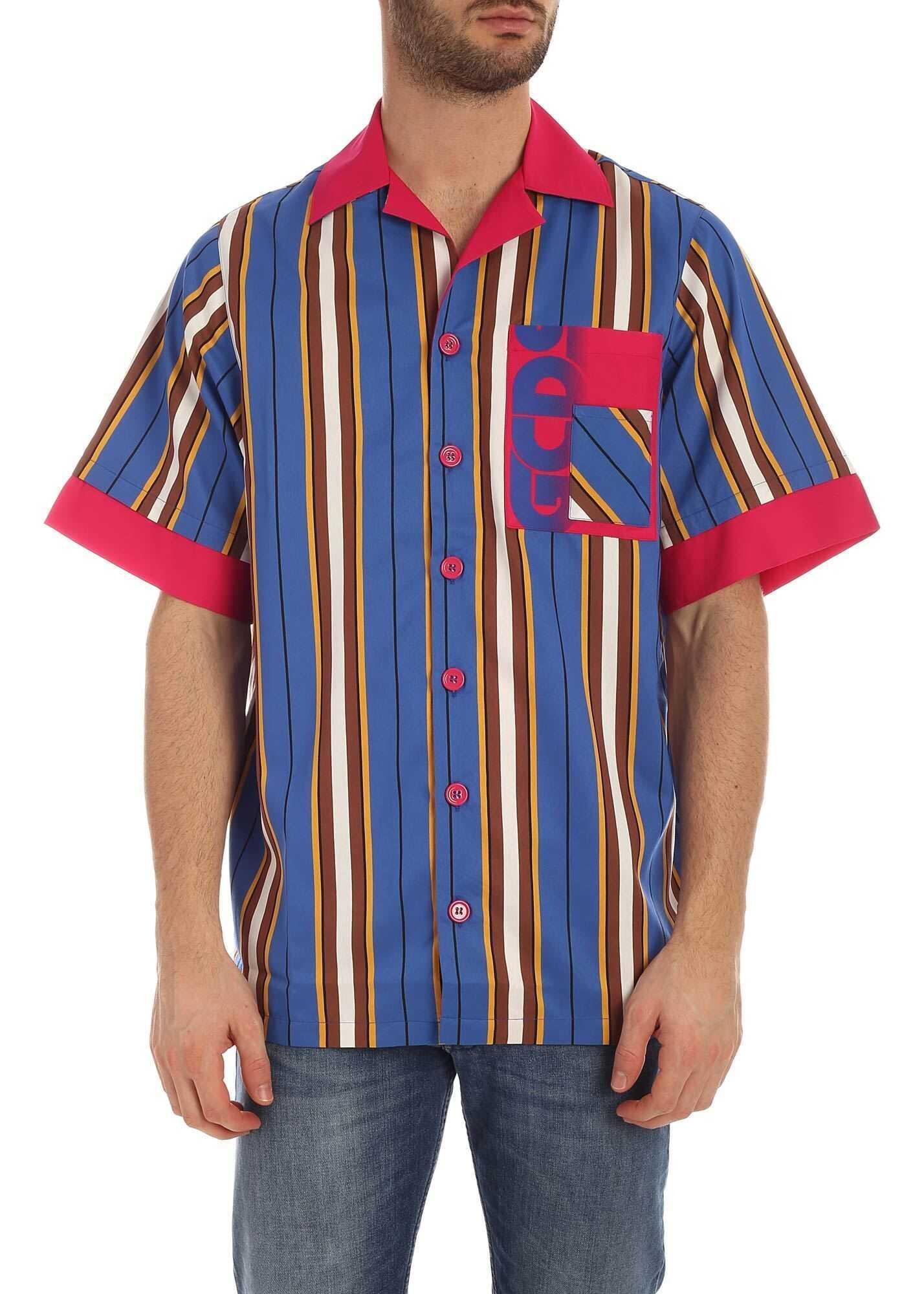 GCDS Striped Bowling Shirt Multi