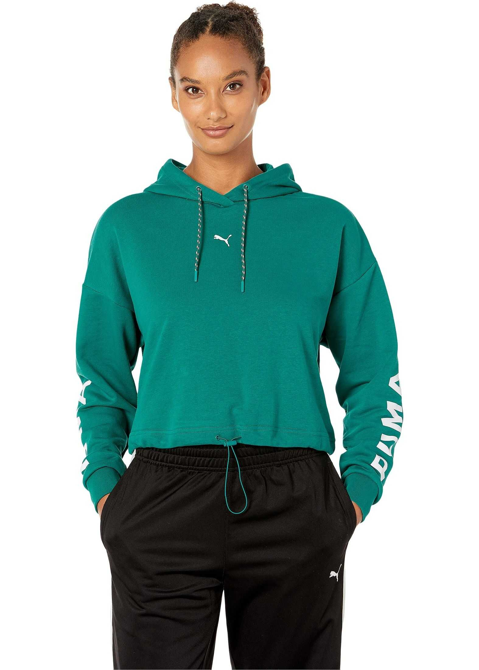 PUMA Chase Cropped Hoodie Teal Green