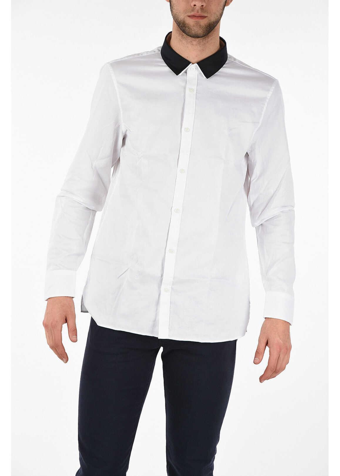 Armani EMPORIO Cotton Piqué Shirt WHITE