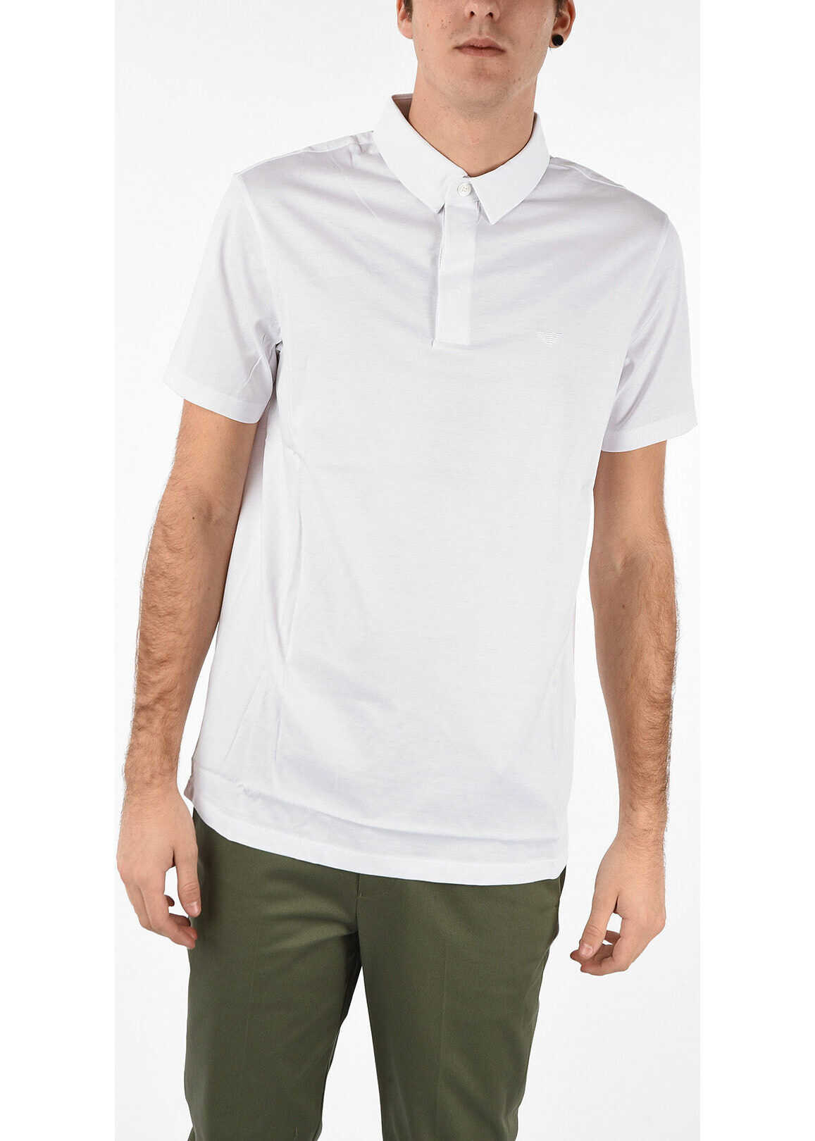 Armani EMPORIO Regular Fit Polo Shirt with Logo WHITE