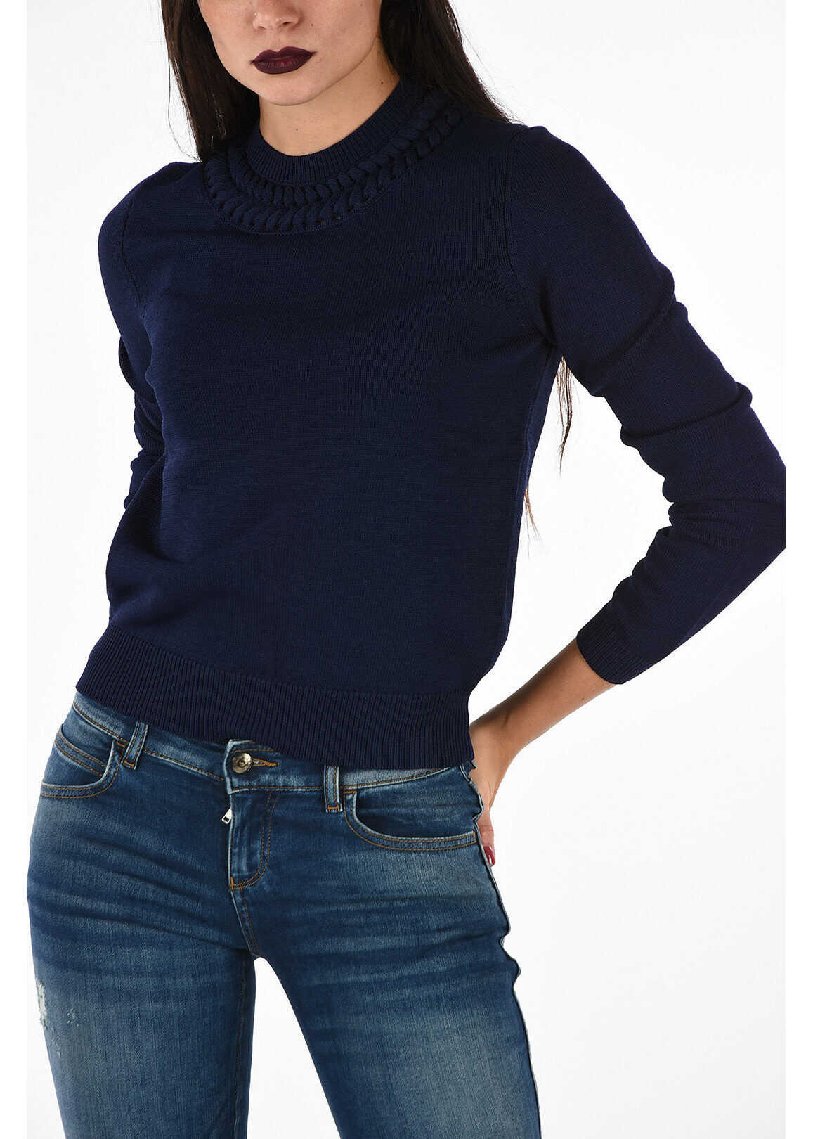 Armani EMPORIO Embroidered Round Necked Sweater BLUE