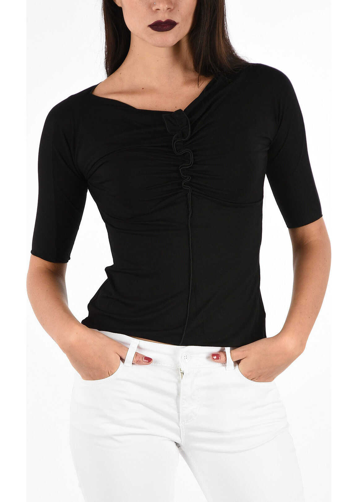 Armani COLLEZIONI Top with Frill BLACK
