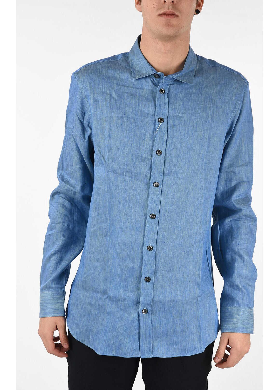 Armani COLLEZIONI Cotton & Linen Shirt LIGHT BLUE