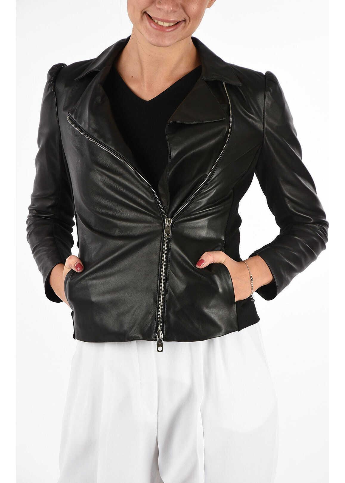 Armani EMPORIO Leather Jacket BLACK