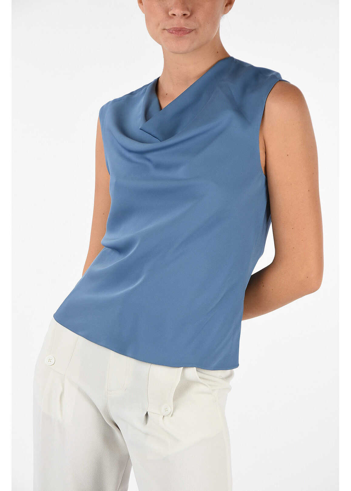 Armani COLLEZIONI Silk Top LIGHT BLUE