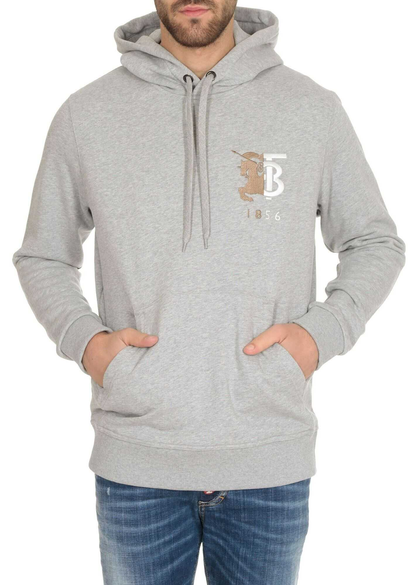 Burberry Contrast Logo Graphic Hoodie In Pale Grey Grey