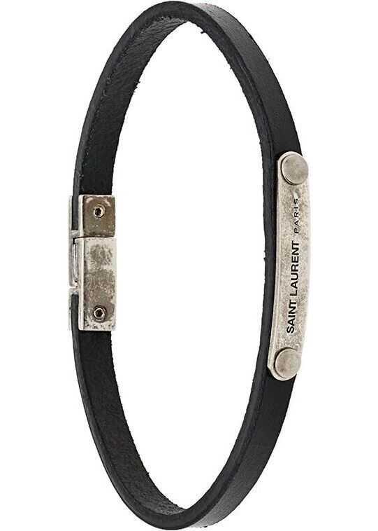 Saint Laurent Leather Bracelet BLACK