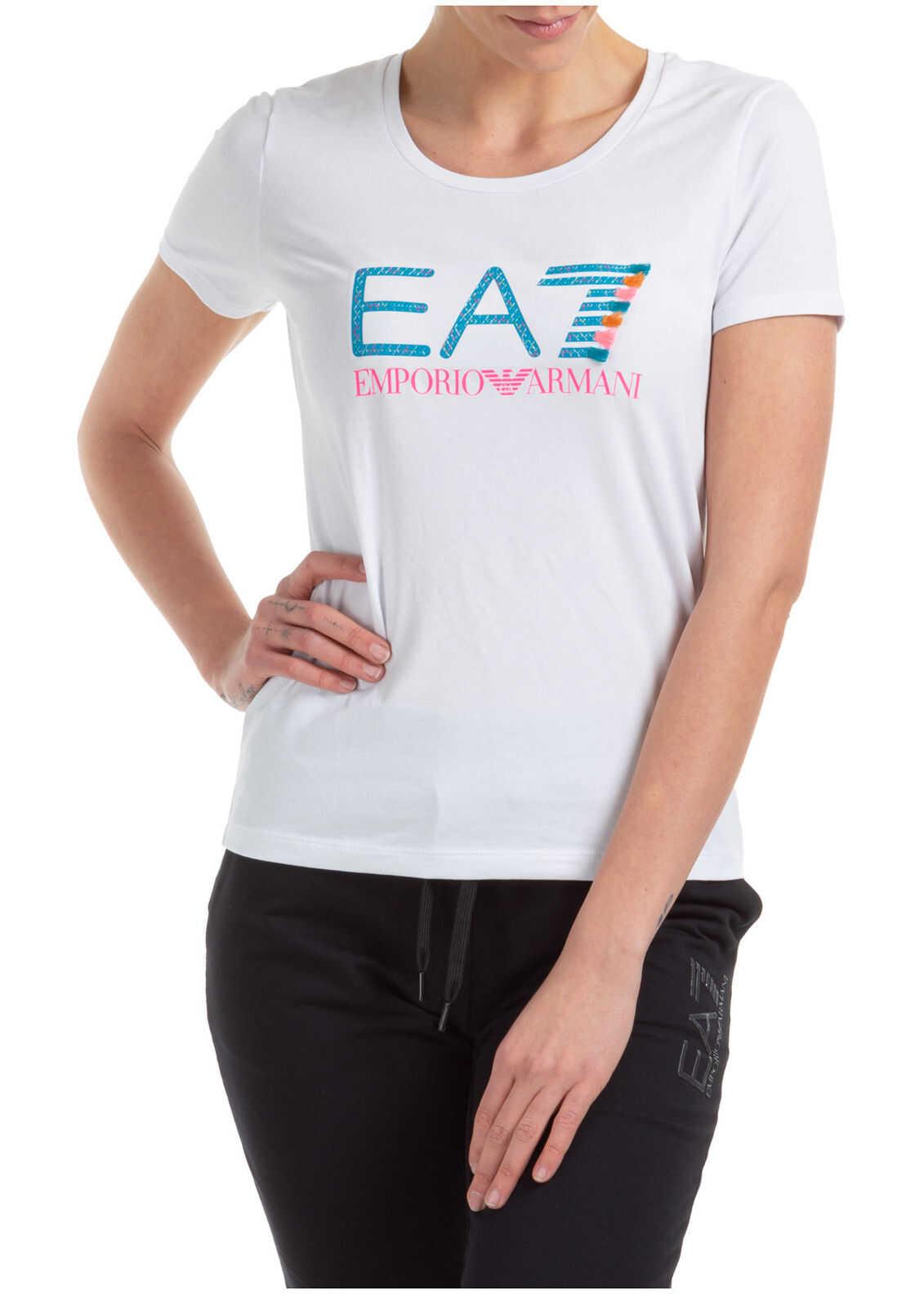EA7 Neck Round White