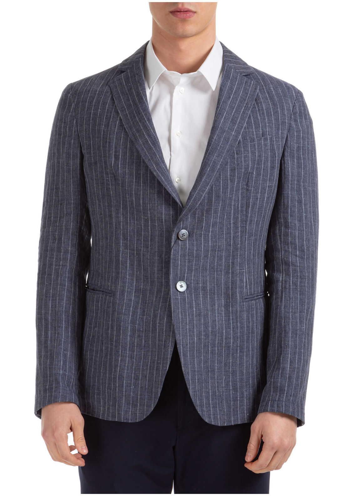 Emporio Armani Jacket Blazer Blue imagine