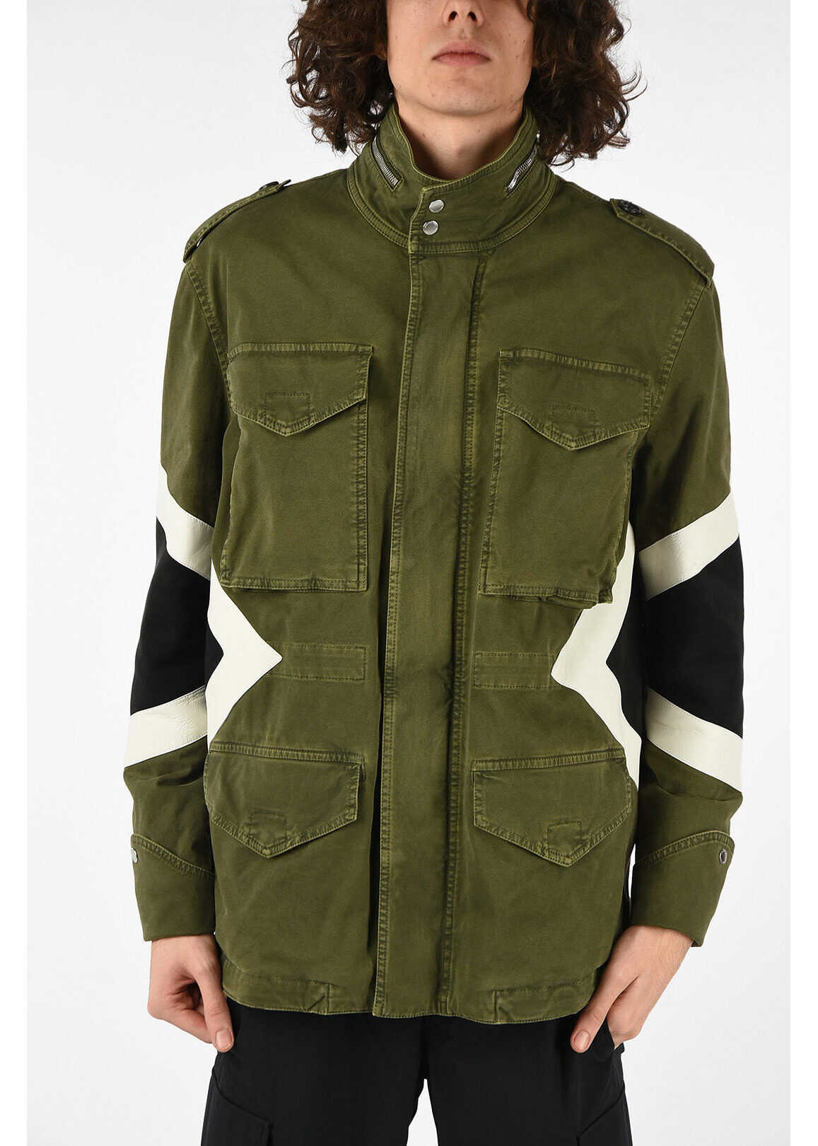 Neil Barrett Parka with Leather Details GREEN imagine