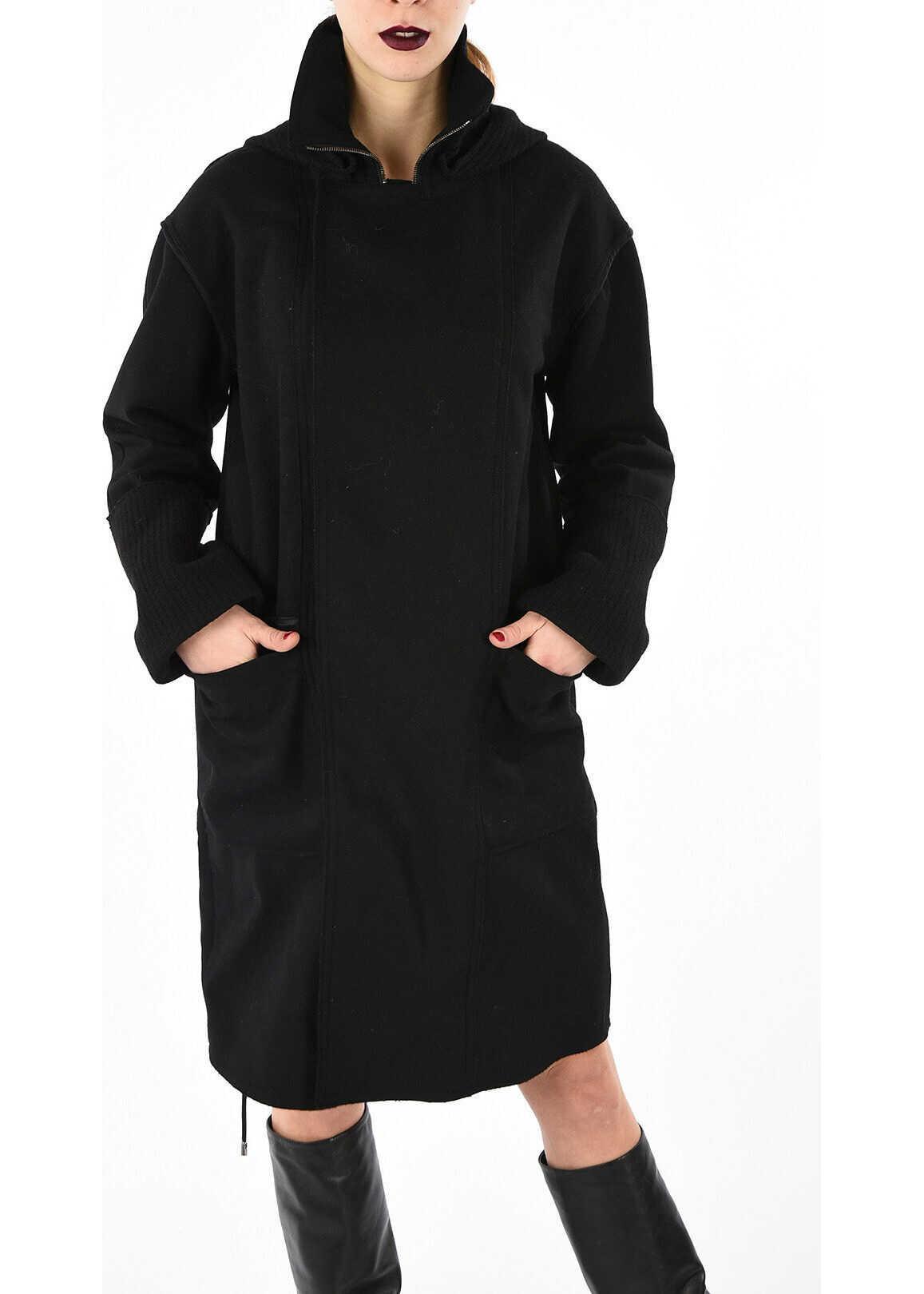 Diesel BLACK GOLD virgin wool WERENICE wrap-around coat BLACK