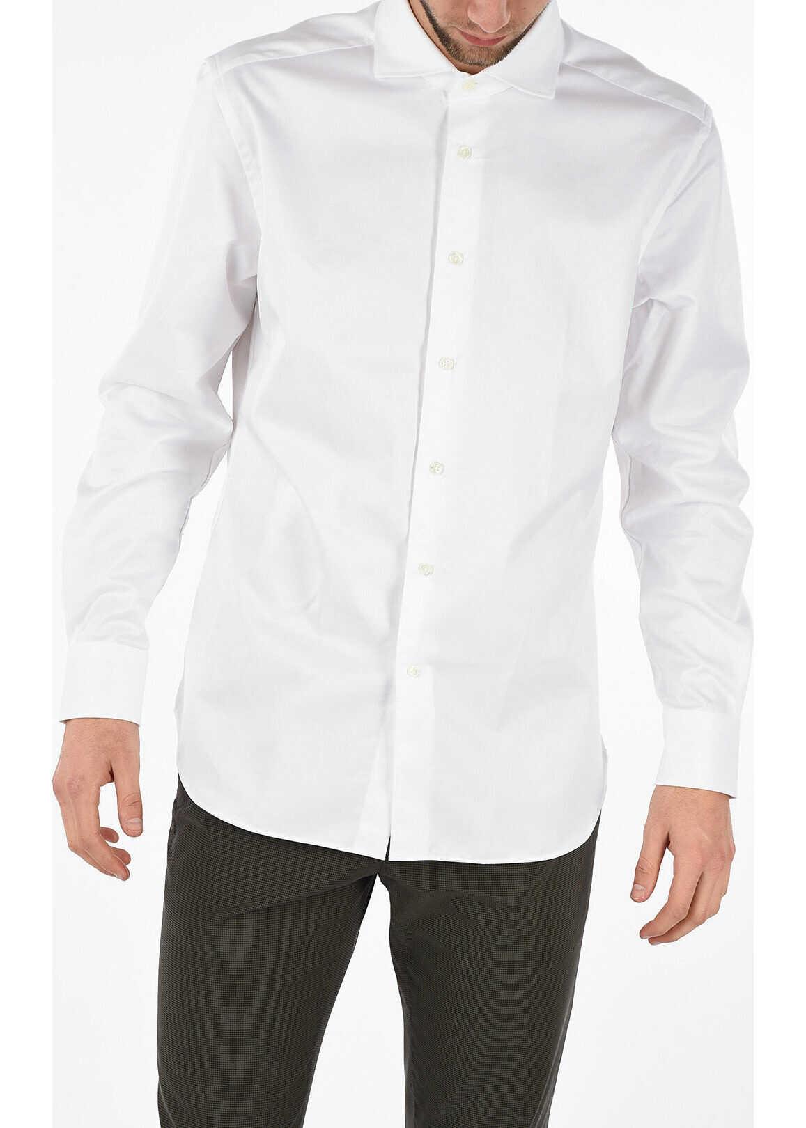 CORNELIANI Cotton popeline italian collar shirt WHITE