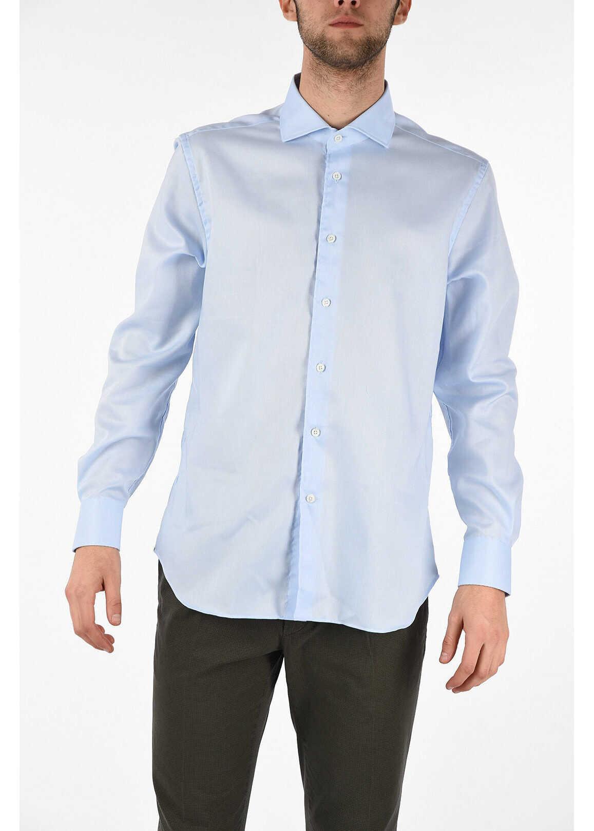 CORNELIANI Cotton popeline semi-french collar shirt LIGHT BLUE imagine