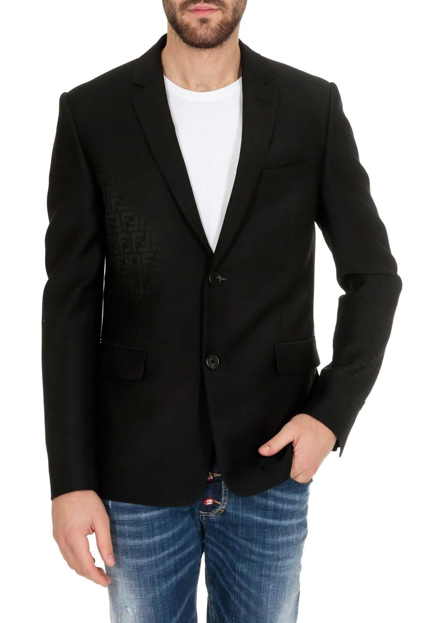 Fendi Faded Ff Blazer In Black Black imagine