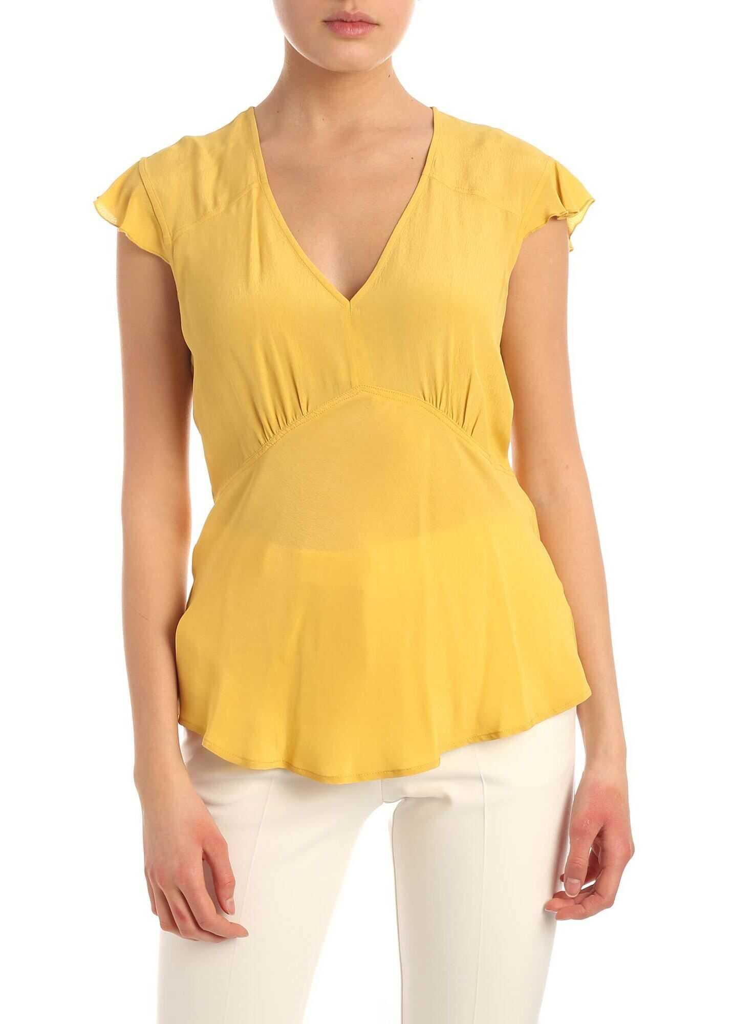 Pinko Pop Corn Top In Mustard Color Yellow
