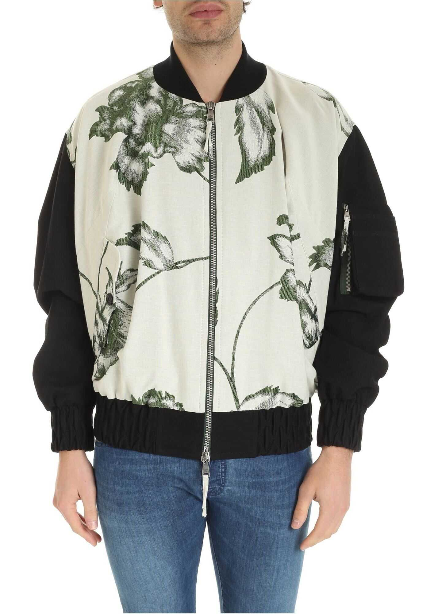Vivienne Westwood Peony Oversize Bomber In Ivory Color White imagine