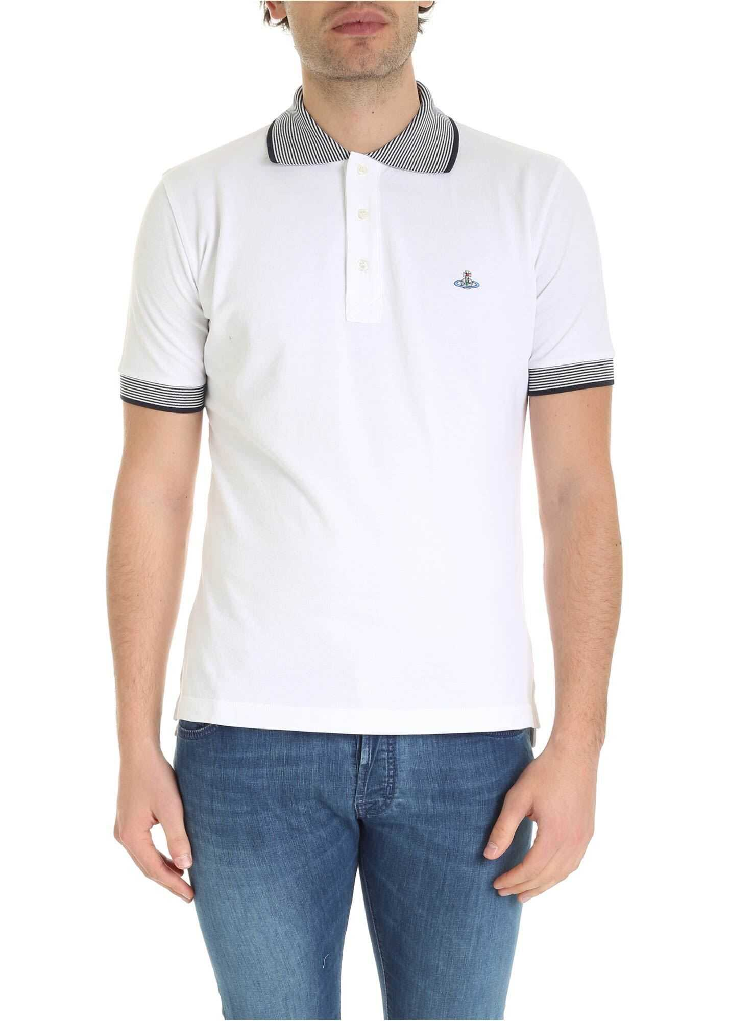 Vivienne Westwood Orb Logo Embroidery Polo Shirt In White White