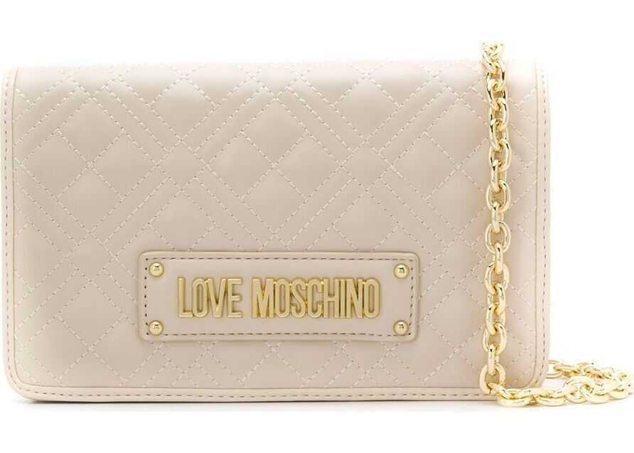 LOVE Moschino Leather Shoulder Bag BEIGE