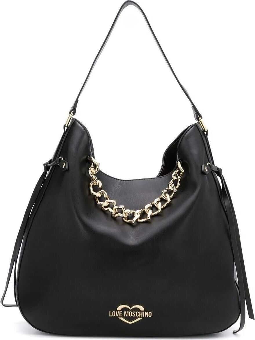 LOVE Moschino Leather Shoulder Bag BLACK