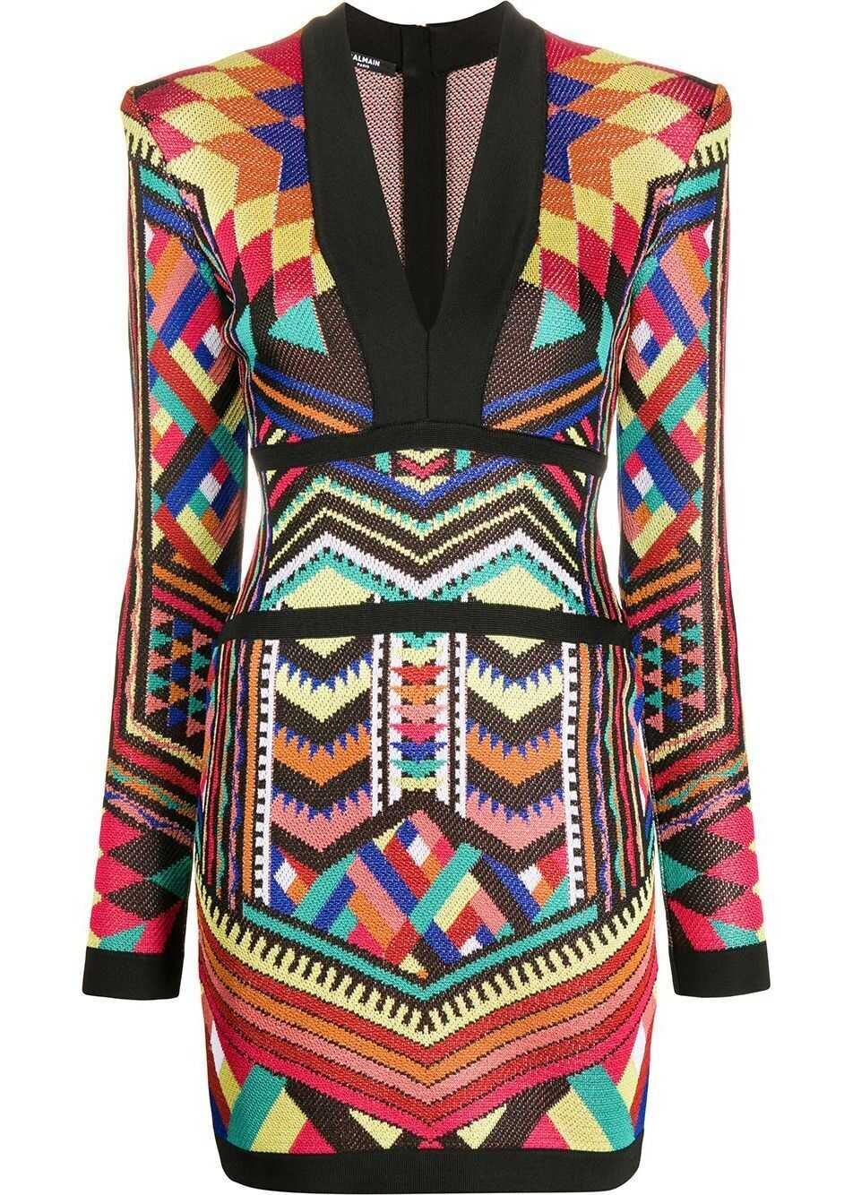 Balmain Viscose Dress MULTICOLOR