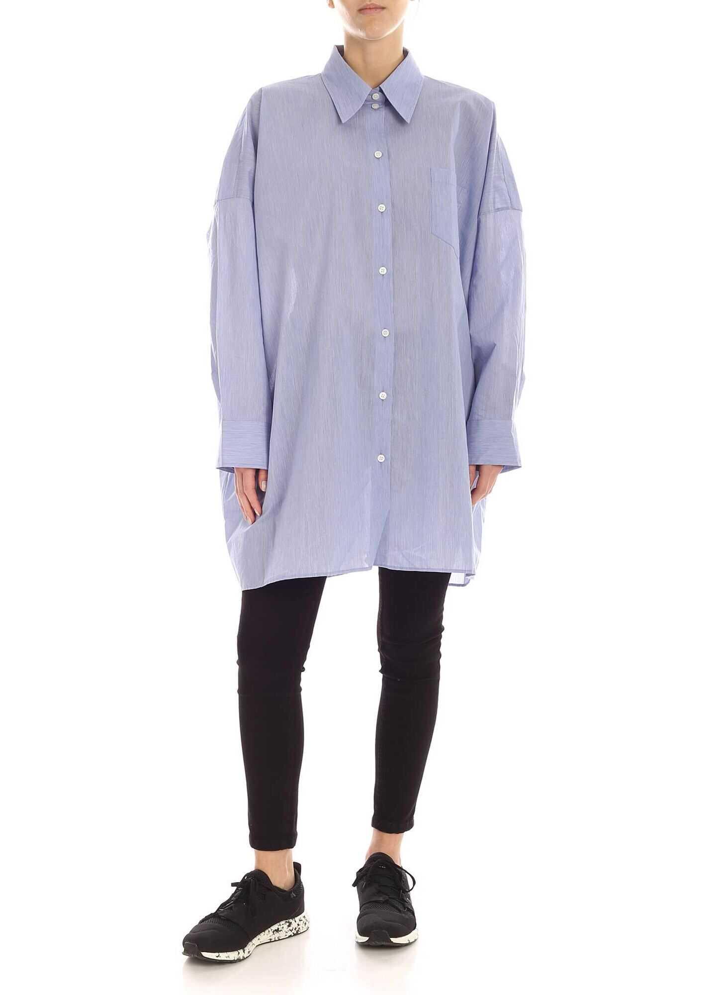 Acne Studios Oversize Shirt In Melange Blue Blue