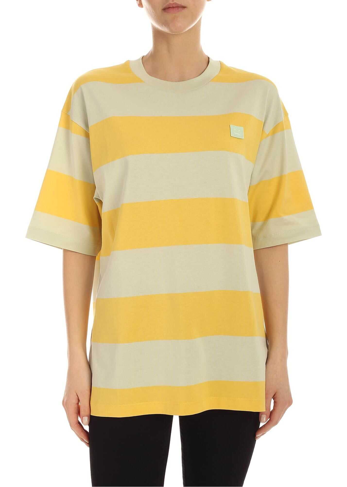 Acne Studios Logo T-Shirt In Yellow And Mint Green Yellow