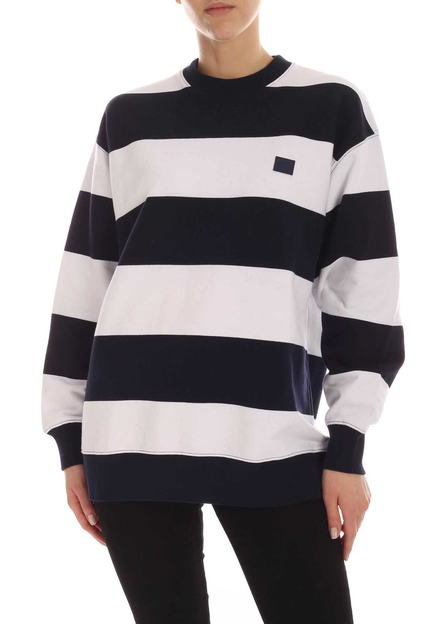 Acne Studios Logo Striped Sweatshirt In Blue And White White