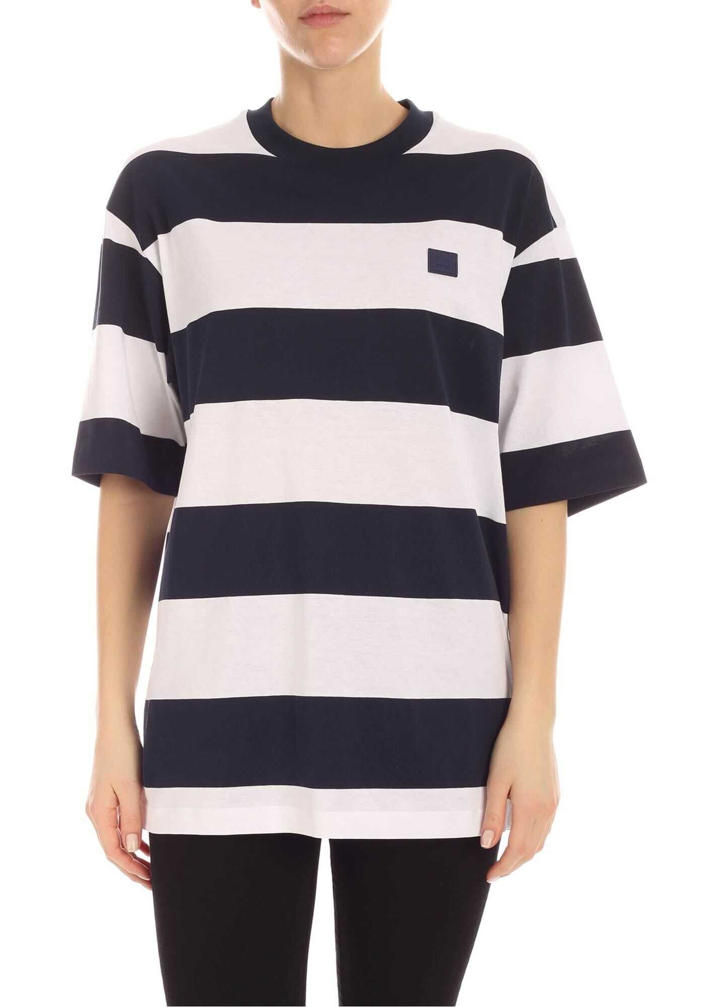 Acne Studios Logo Patch T-Shirt In White And Blue White