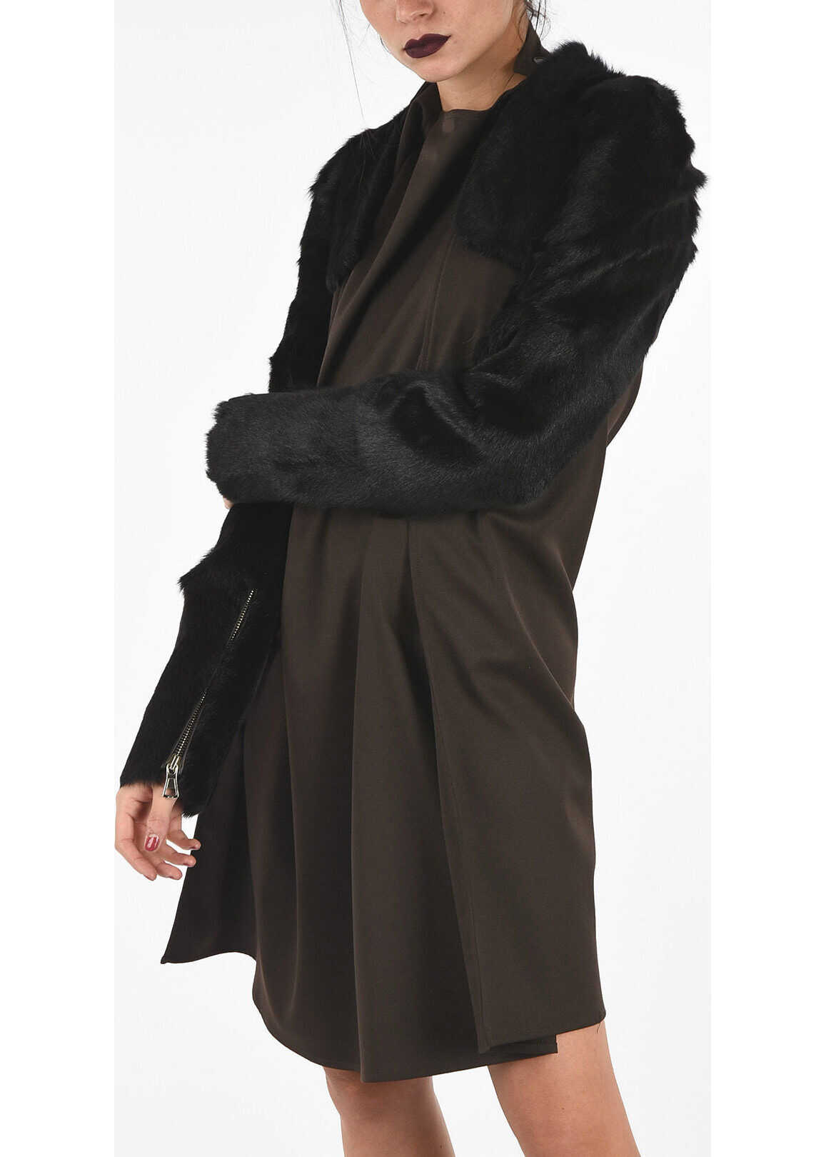 Maison Margiela MM1 Real Fur Crop Cardigan BLACK