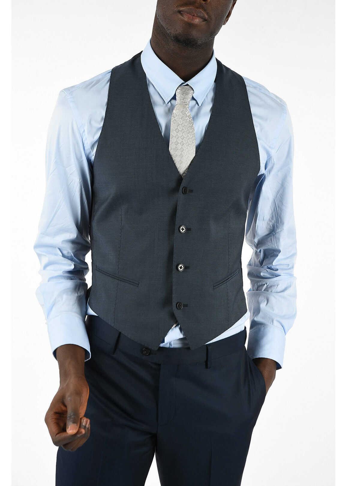 Armani COLLEZIONI Virgin Wool 4 Button Vest BLUE
