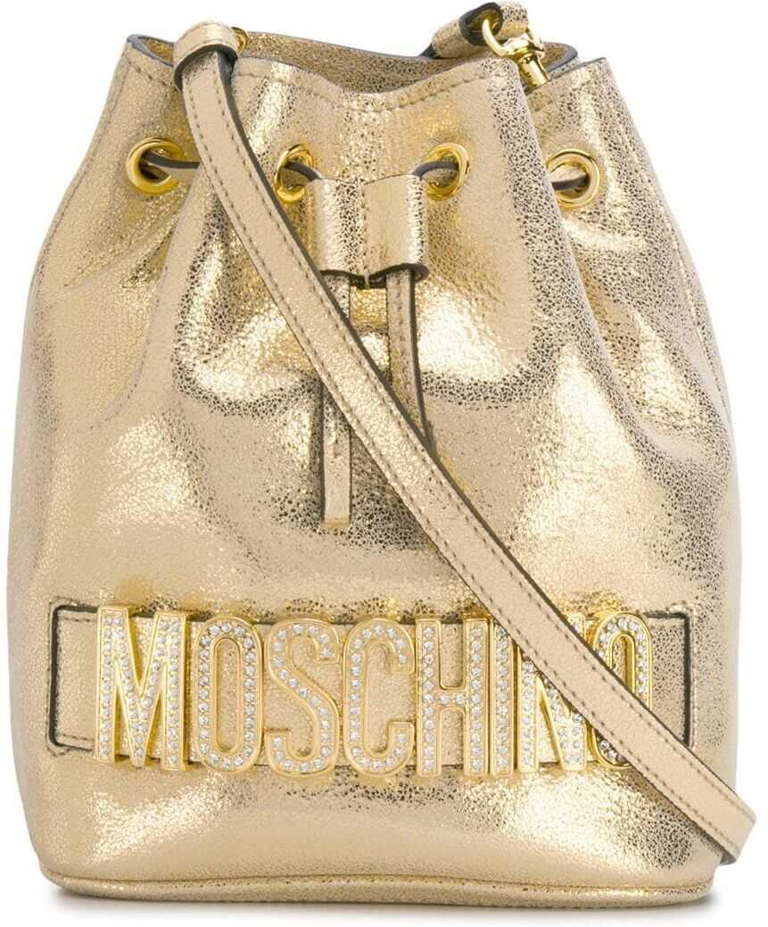 Moschino Polyurethane Shoulder Bag GOLD