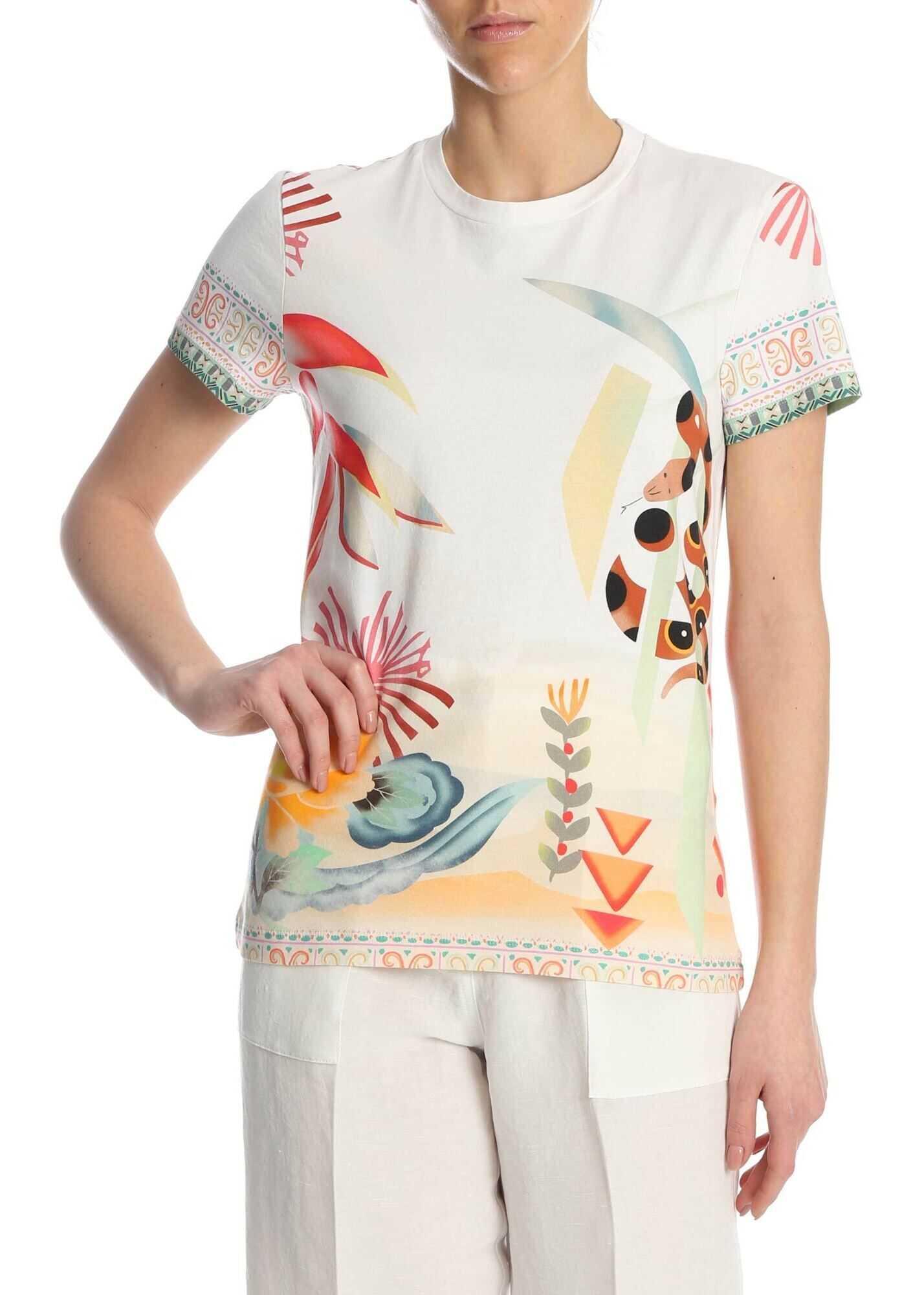 ETRO T-Shirt In Multicolor Pattern Multi