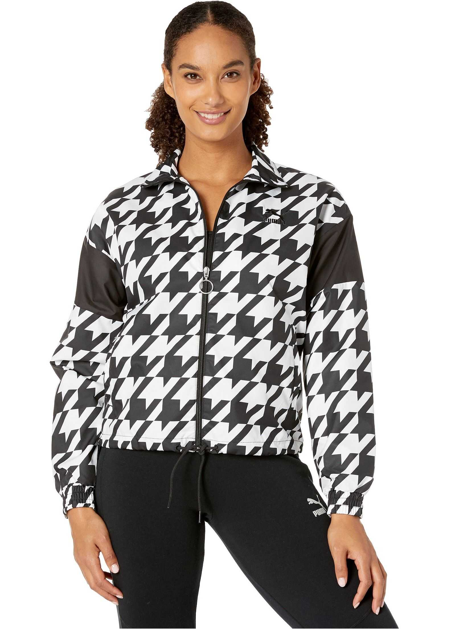 PUMA Trend All Over Print Woven Jacket Black Houndstooth