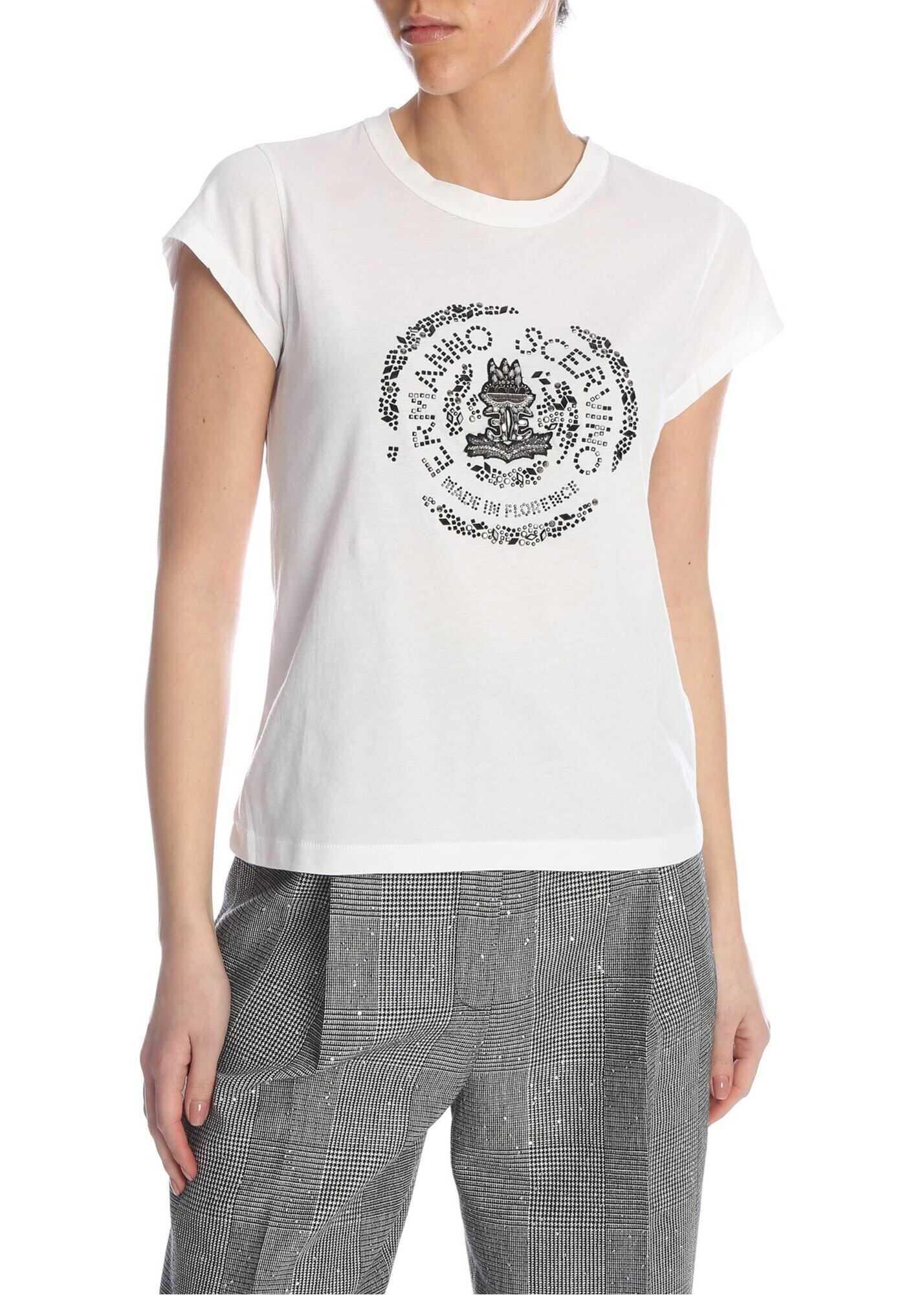 Ermanno Scervino Rhinestones Logo T-Shirt White