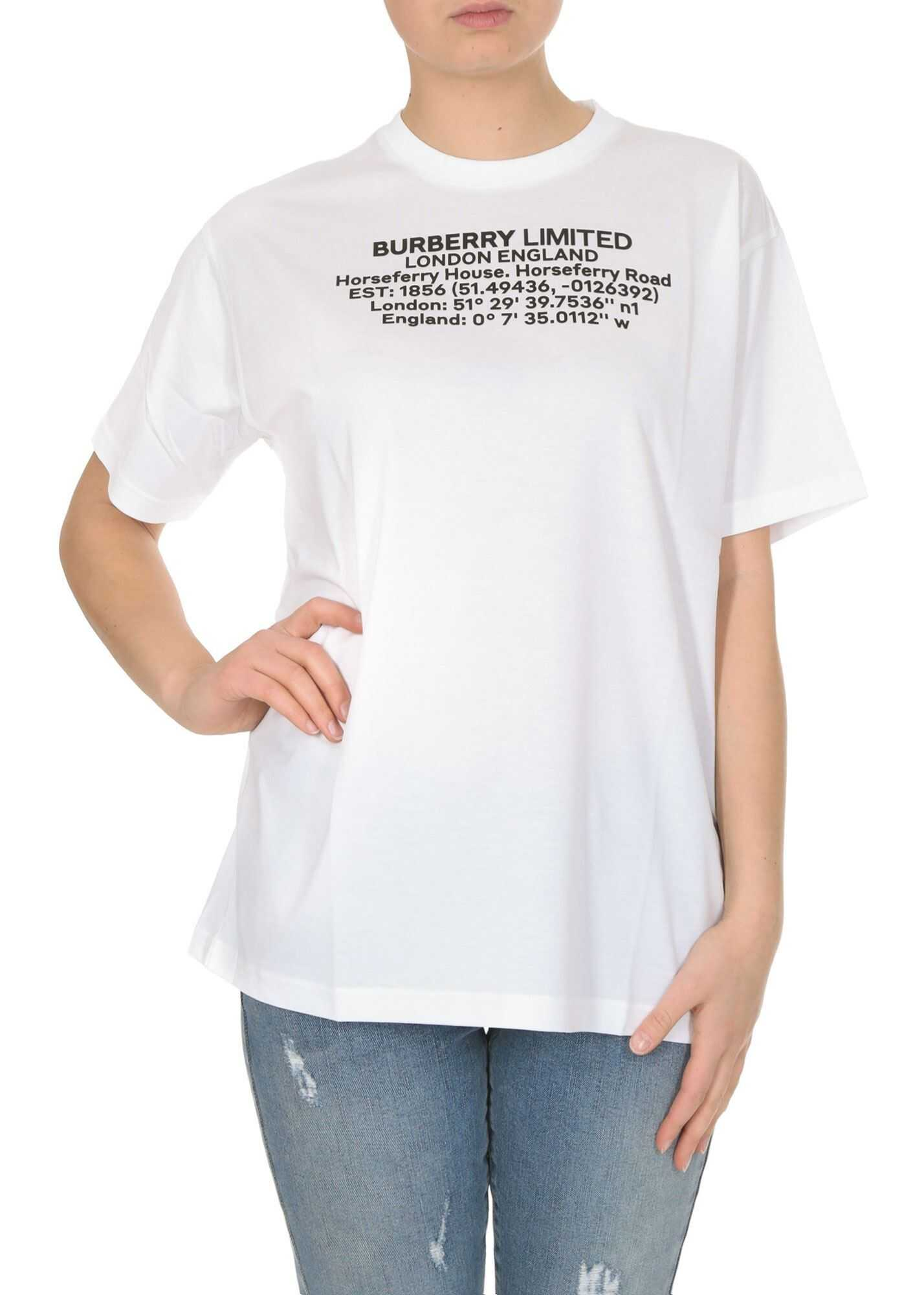 Burberry T-Shirt In White With Geographic Coordinates Print White
