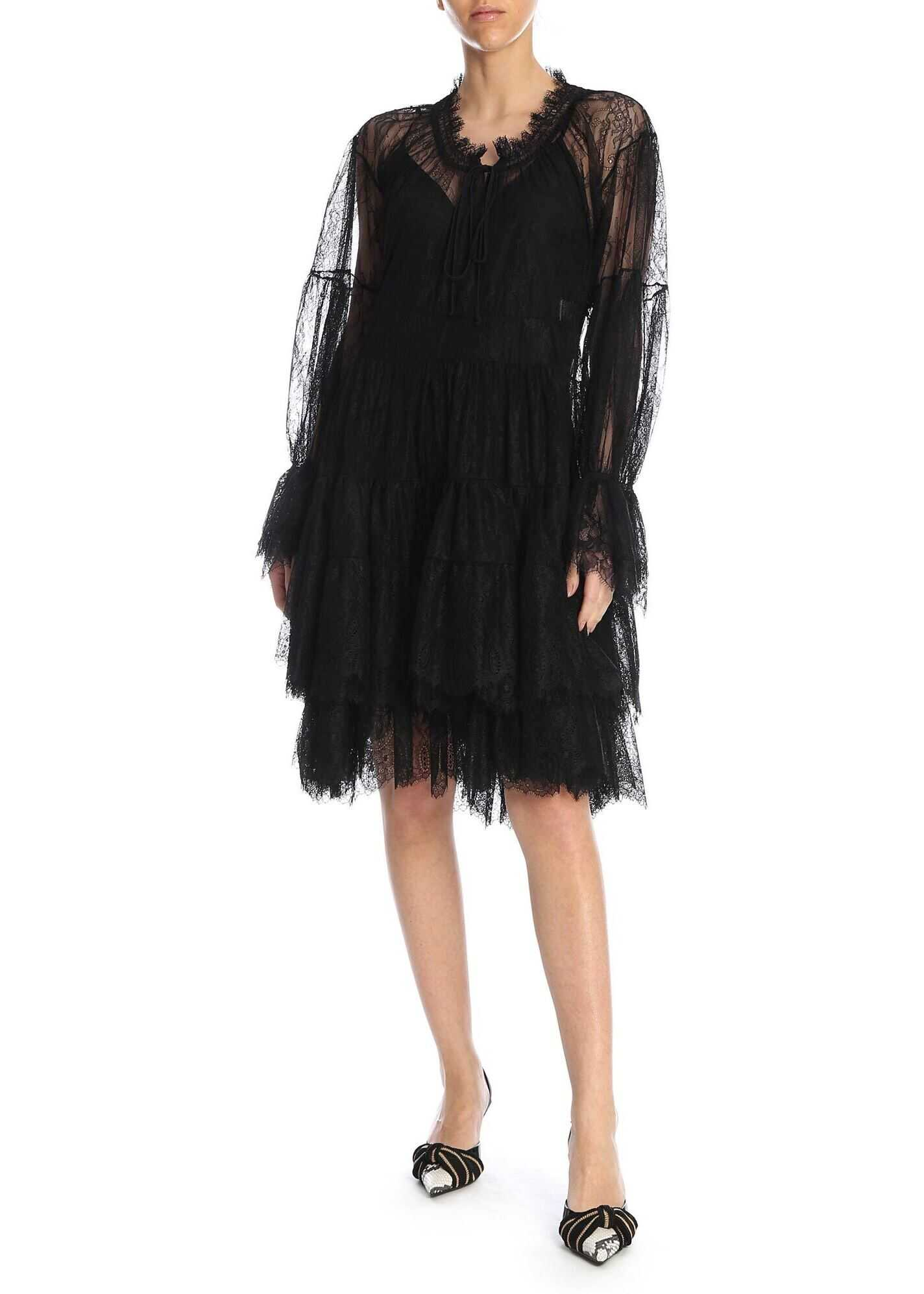 Ermanno Scervino Lace Dress With Flounces In Black Black