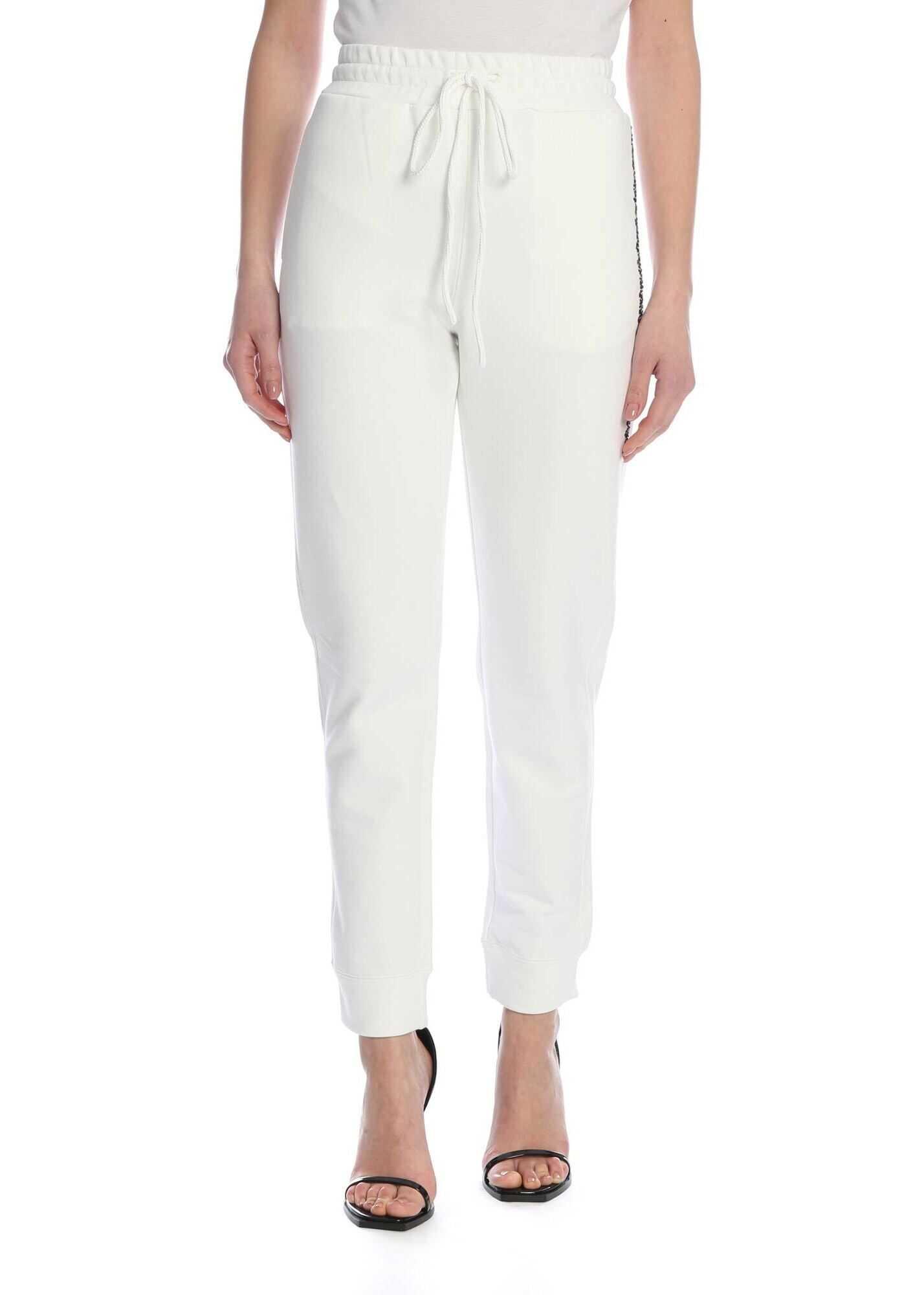 Ermanno Scervino Sweatpants With Rhinestones In White White