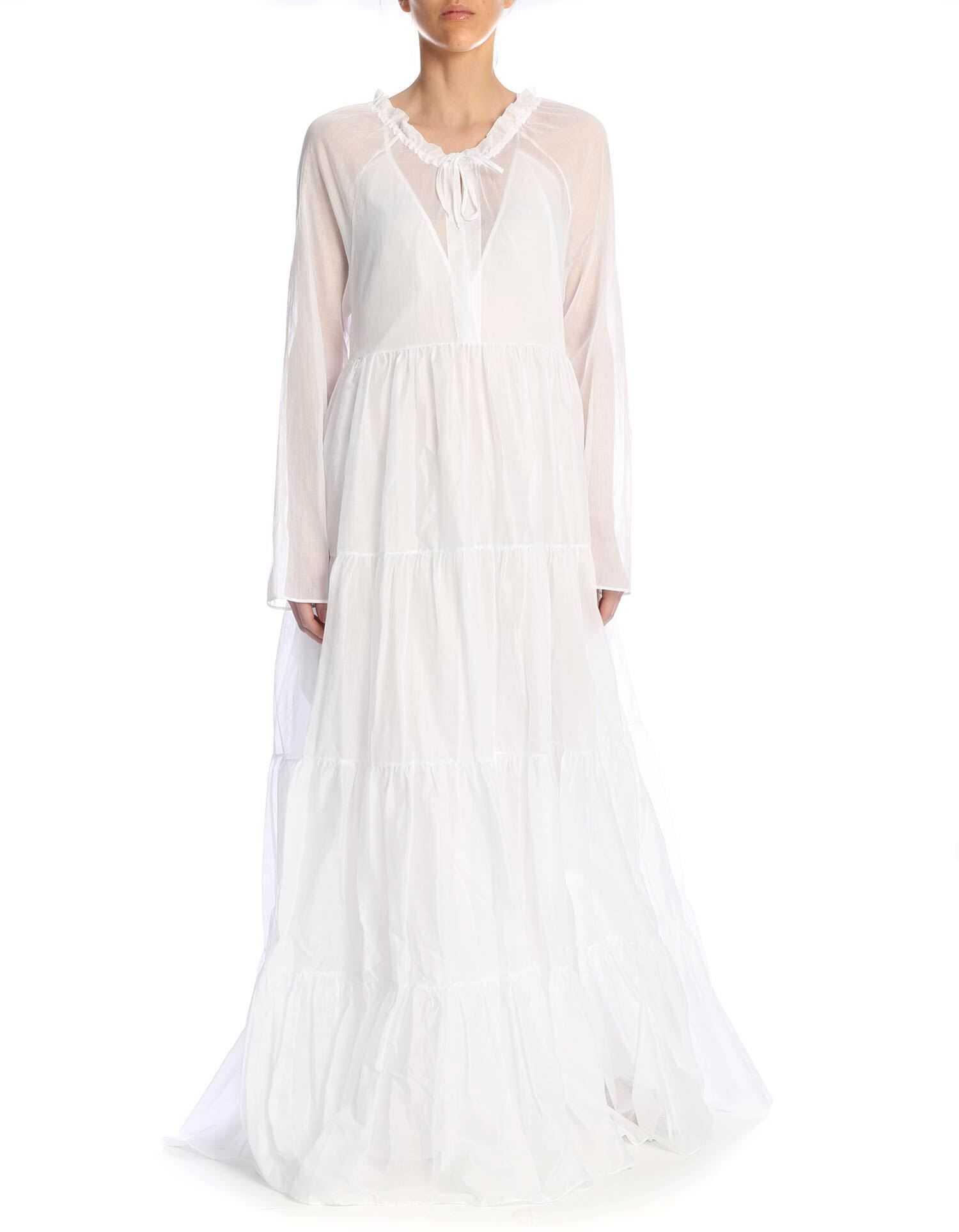Ermanno Scervino Long Dress With Petticoat In White White