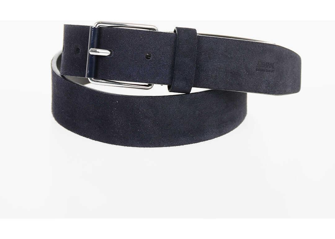 Armani COLLEZIONI 35mm Leather Belt BLUE