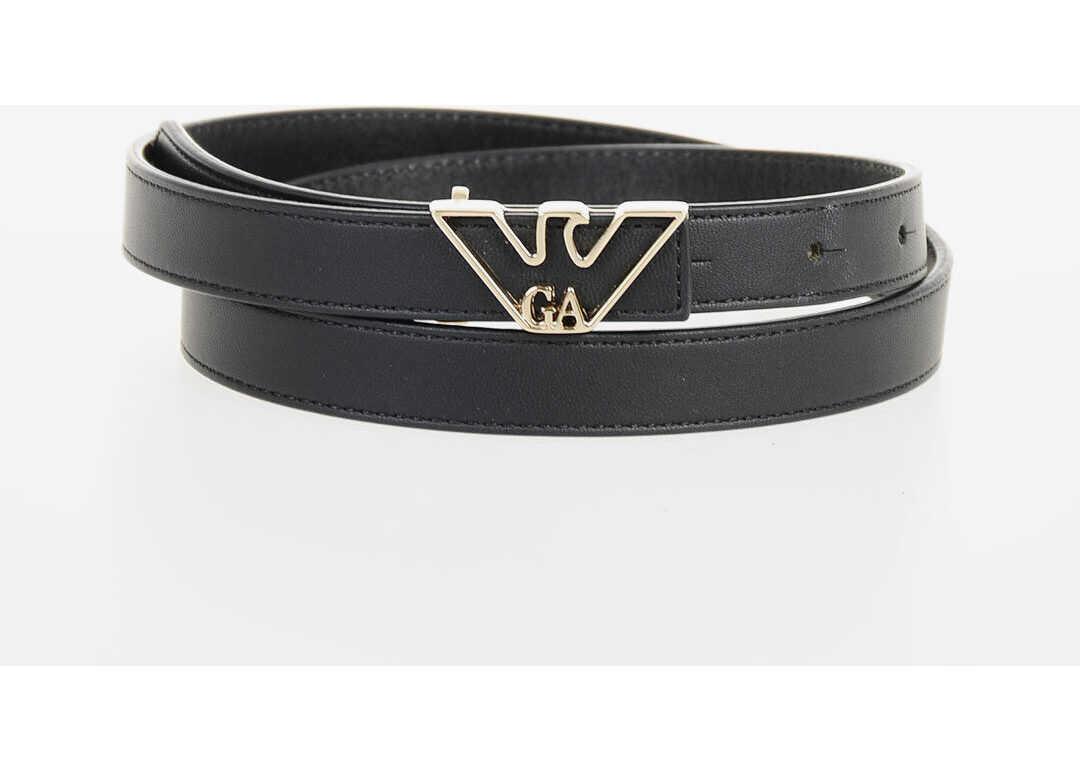 Armani EMPORIO 10mm Leather Slim Belt BLACK