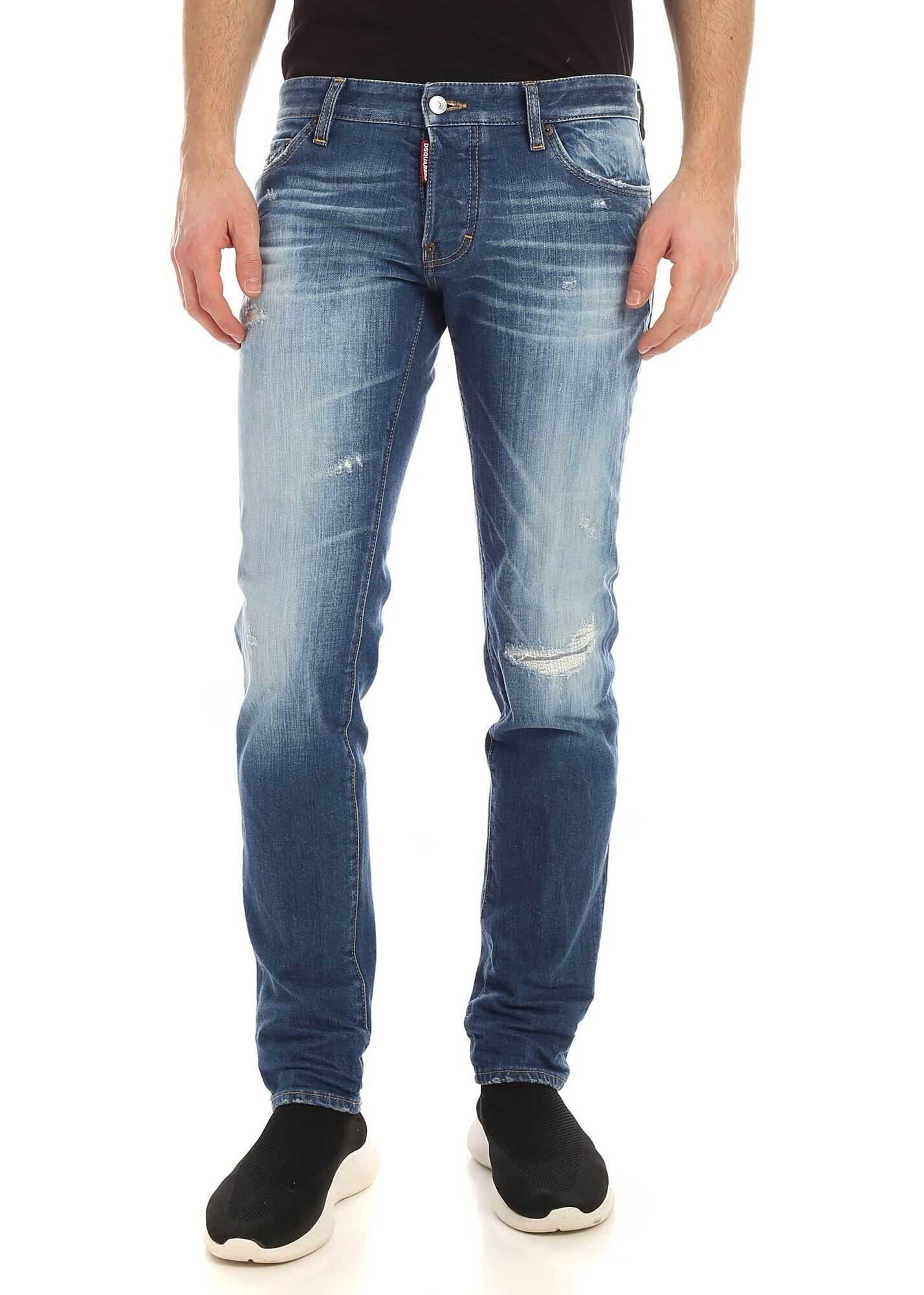 DSQUARED2 Slim Logo Patch Jeans In Blue Blue