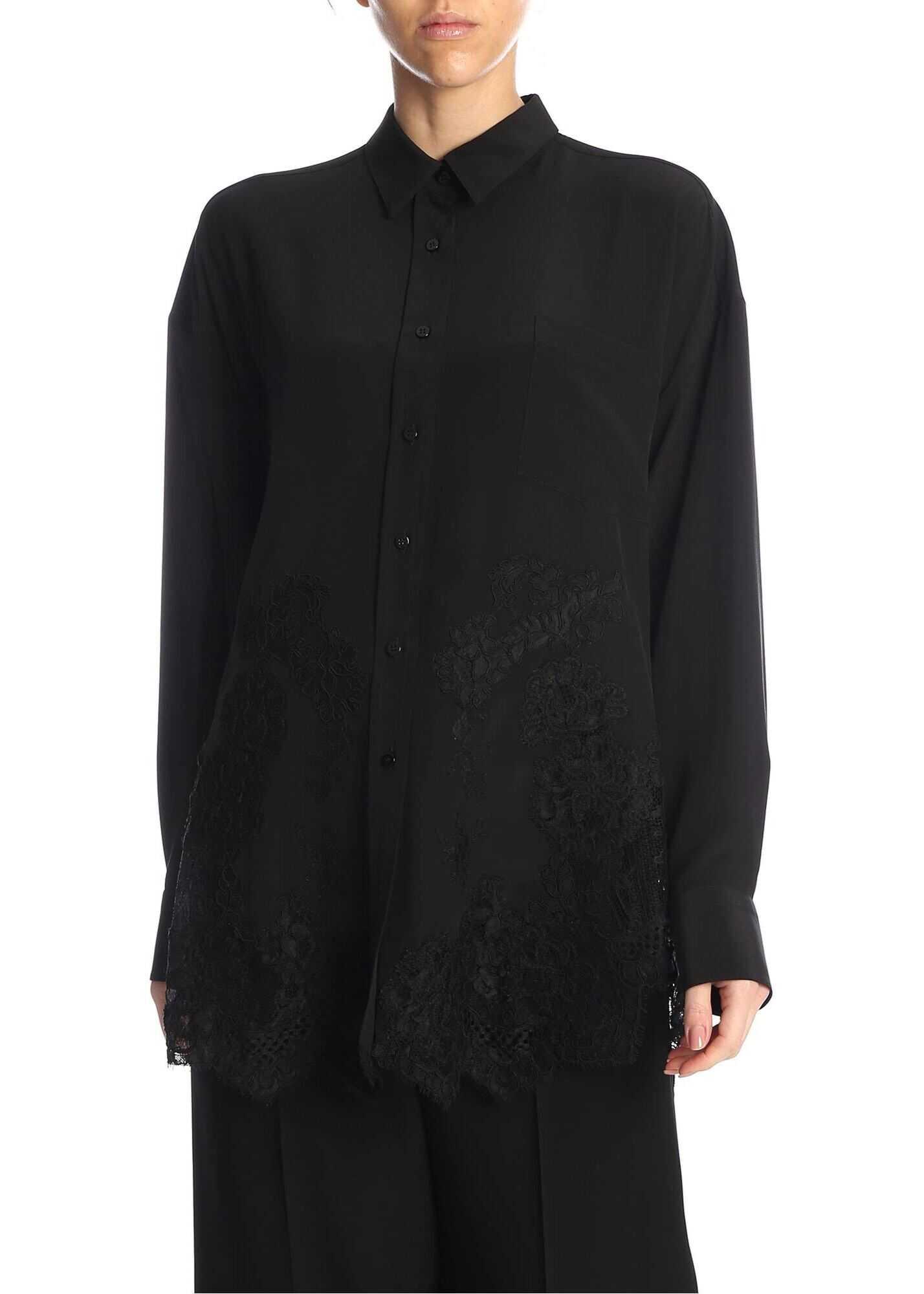 Ermanno Scervino Lace Inserts Shirt In Black Black