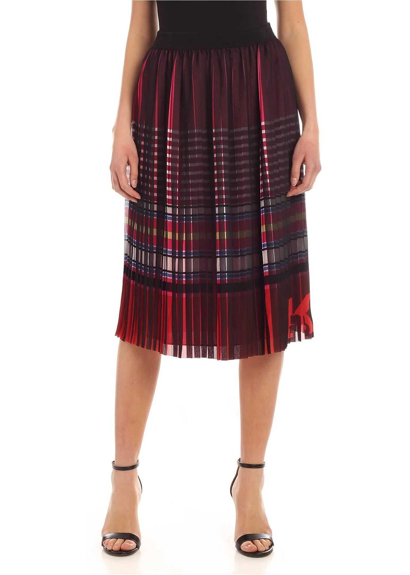 Stripe Print Pleated Multicolor Skirt thumbnail