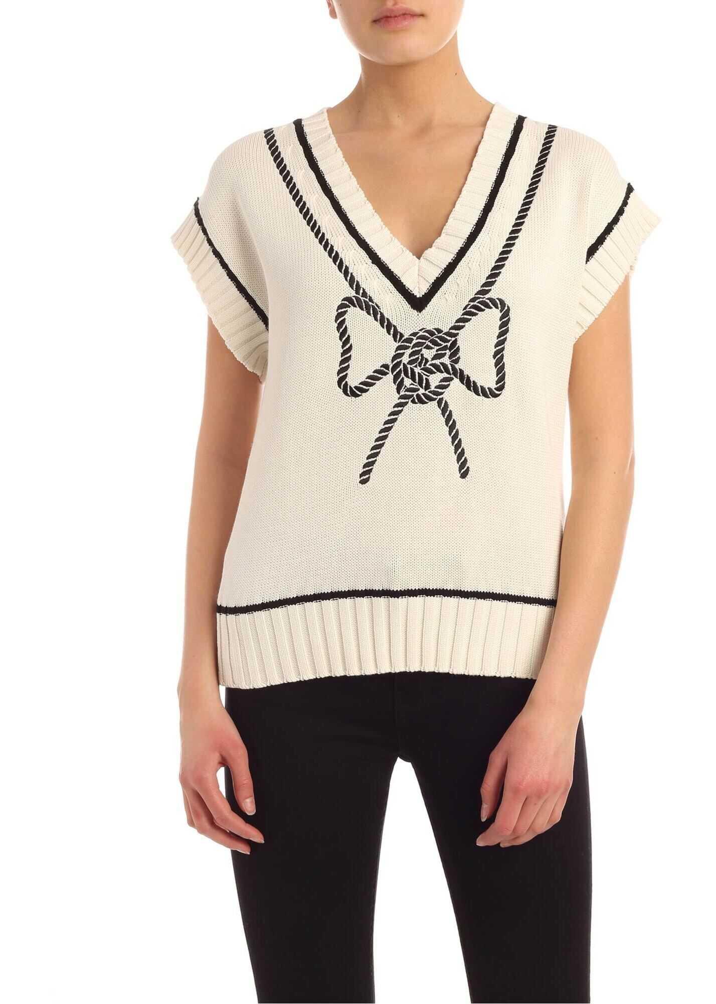 Vivetta Bow Embroidery Sleeveless Pullover In Ecru Color White