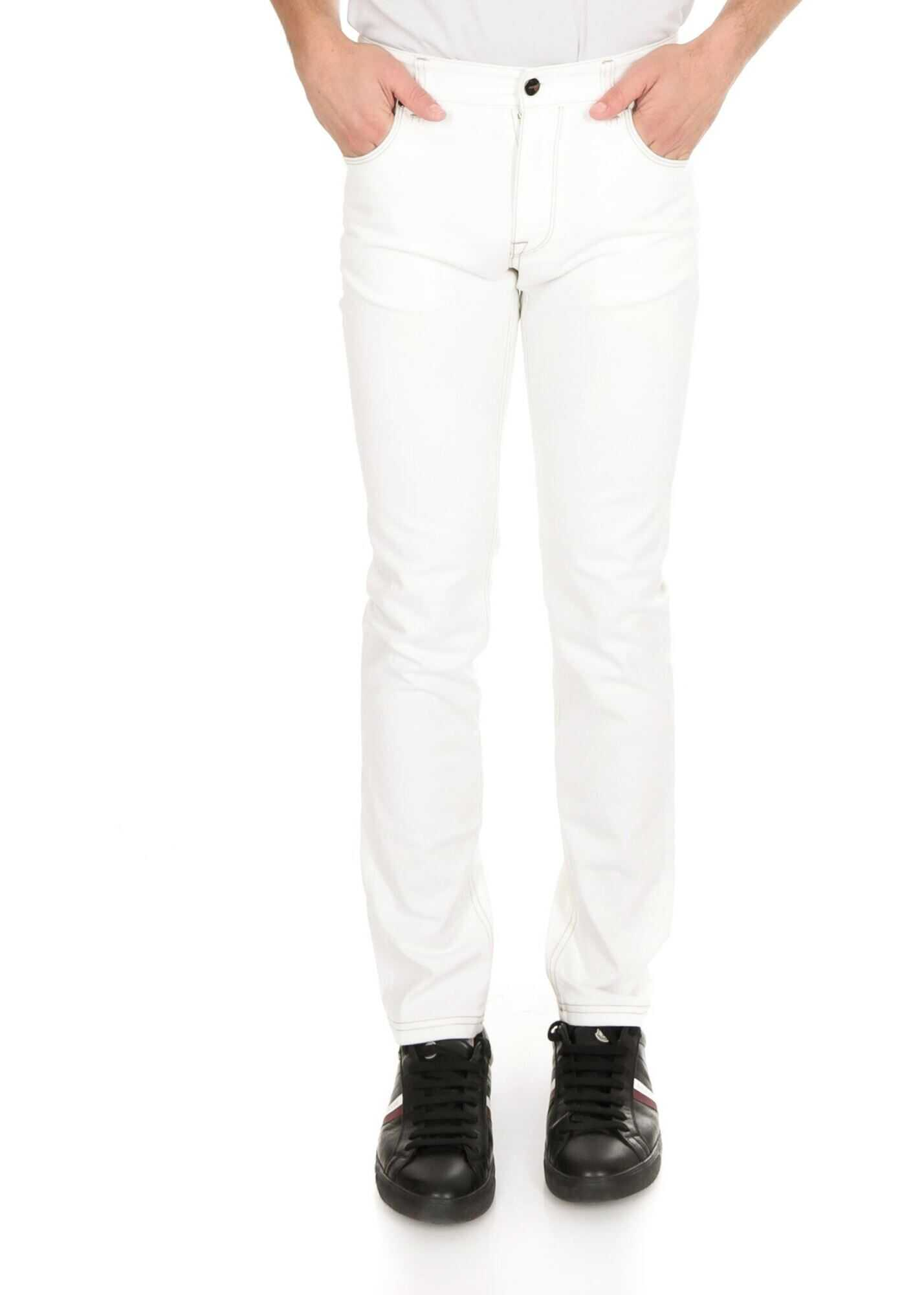 Fendi All-Over Micro Ff Embroidery Jeans In White White